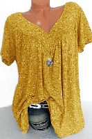 V Neck  Brief  Printed  Short Sleeve Short Sleeve T-Shirt