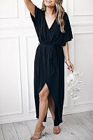 Deep V Neck  Belt  Plain  Half Sleeve Maxi Dresses