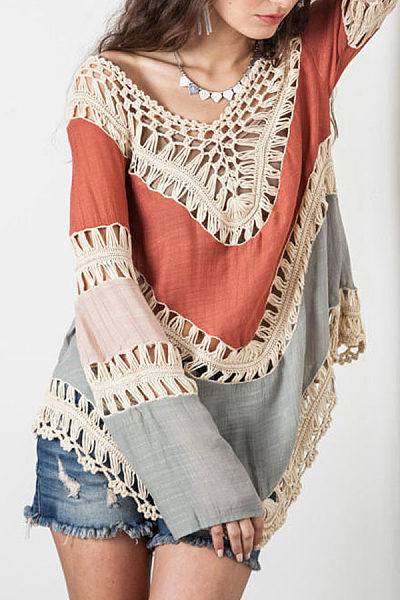 V Neck  Patchwork  Crochet  Color Block  Batwing Sleeve Blouses