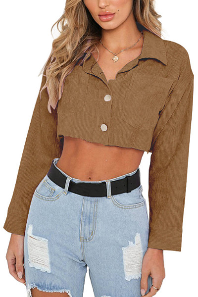Fold Over Collar  Single Breasted  Exposed Navel  Plain Jackets