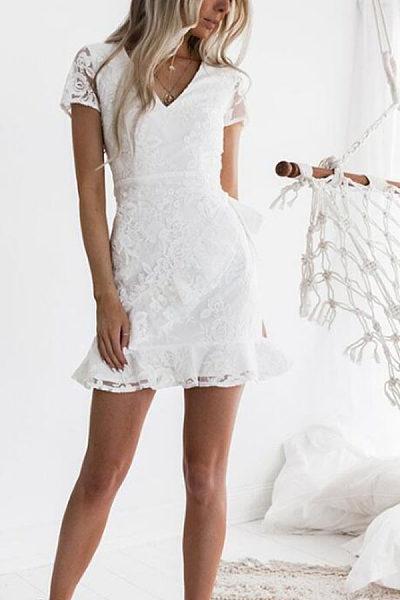 V Neck  Backless See Through  Plain  Short Sleeve Bodycon Dresses