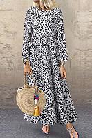 Round Neck Long Sleeve Leopard Maxi Dress