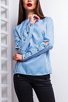Round Neck  Decorative Buttons Shirts & Blouses