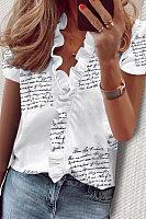 V Neck Short Sleeve Ruffle Printed Blouse