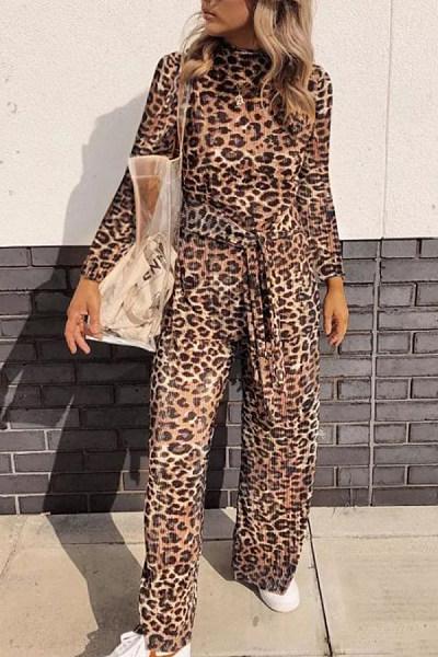 Round Neck  Belt  Leopard Printed  Long Sleeve Jumpsuits
