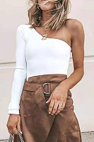 Fashion Solid Color Single Shoulder Blouse