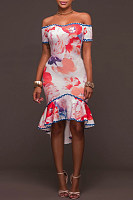 Off Shoulder Flounce Print Bodycon Dress