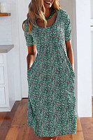 Short Sleeve Floral Print Mini Dress