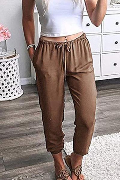 Elastic Waist  Plain Pants