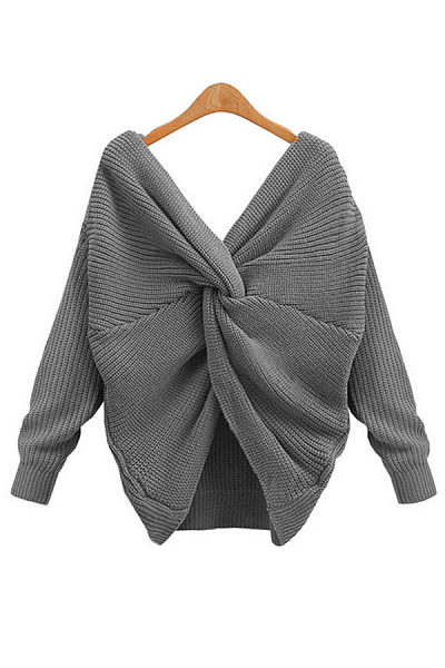 Back Cross Loose V Neck  Backless Sweaters