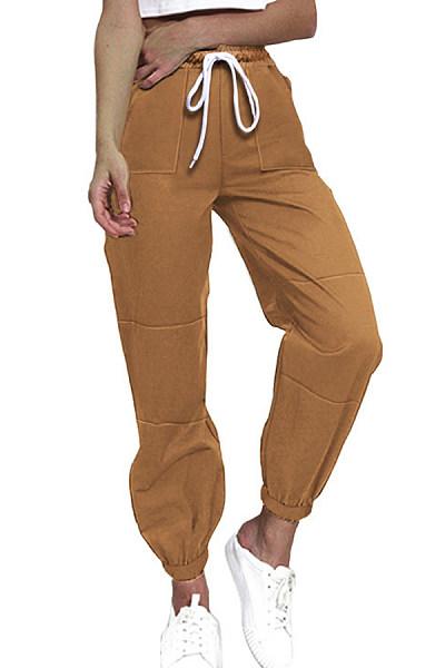Plain Drawstring Casual Leg Pants