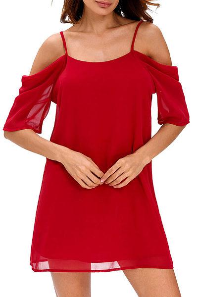 Spaghetti Strap  Backless  Plain Casual Dresses