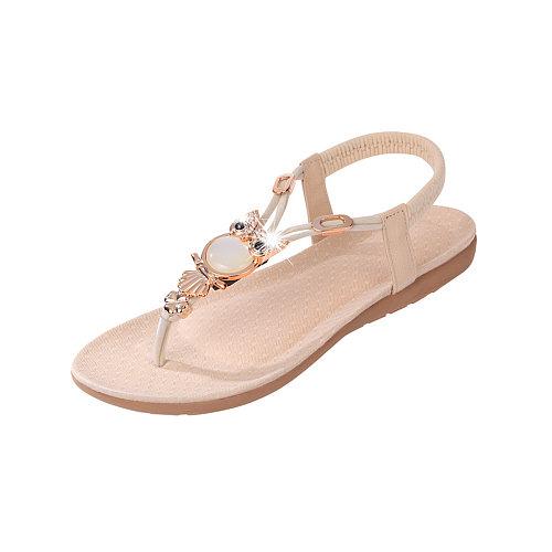 Plain  Flat  Faux Leather  Casual Sandals
