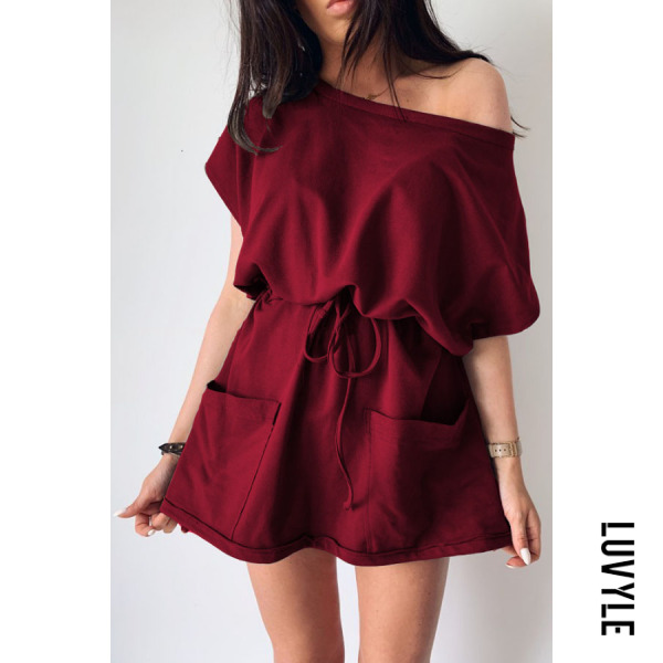 Claret One Shoulder Slit Pocket Belt Plain Short Sleeve Casual Dresses Claret One Shoulder Slit Pocket Belt Plain Short Sleeve Casual Dresses