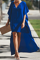 V Neck  Asymmetric Hem  Plain  Long Sleeve Maxi Dresses