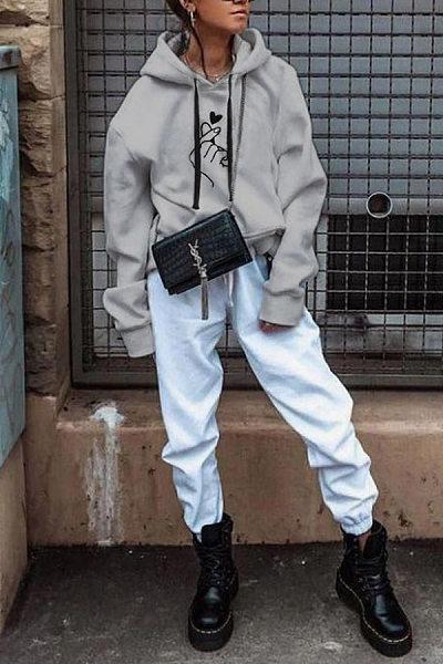 Hooded Long Sleeve Printed Casual Hoodies