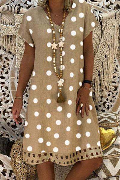 V Neck Short Sleeve Polka Dot Dress