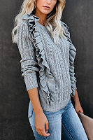 Round Neck Falbala Plain Sweater