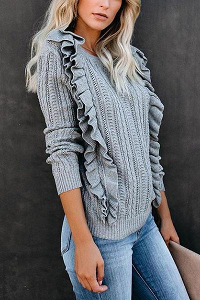Round Neck Falbala Plain Sweater