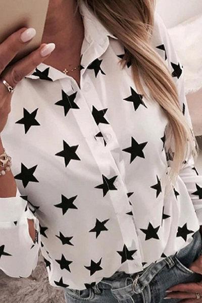 A Lapel Long Sleeve Star Blouse