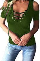 Deep V Neck Open Shoulder  Lace Up  Plain T-Shirts