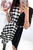 V Neck  Asymmetric Hem  Gingham  Long Sleeve Skater Dresses