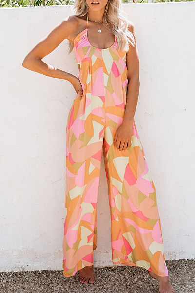 Summer New Sexy Halter Halter Sleeveless Printed Jumpsuit