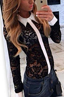 Turn Down Collar  Patchwork  Blouses