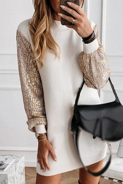 Stand collar fashion stitching dress