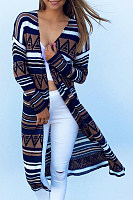 Snap Front  Abstract Print  Long Sleeve Cardigans