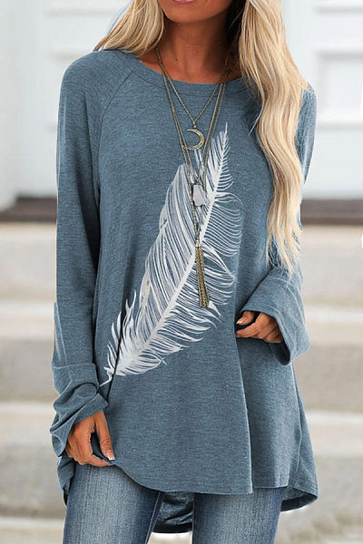 Round Neck Loose-Fitting Feather T-shirt