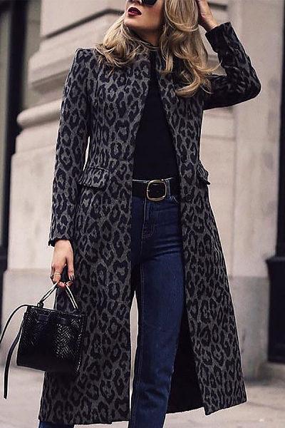Fashion Leopard Print Long Sleeve Coats