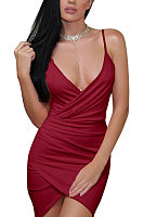 Spaghetti Strap  Asymmetric Hem  Plain  Sleeveless Bodycon Dresses