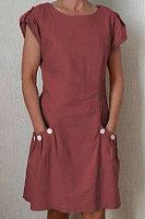 Cuello Redondo Botones Decorativos Parche Bolsillo Llano Vestido De Cambio Vestidos Casuales