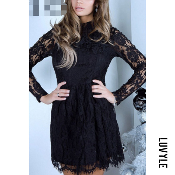 Black Round Neck Backless Lace Plain Skater Dresses Black Round Neck Backless Lace Plain Skater Dresses