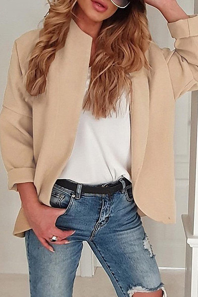 Casual Pure Color Long Sleeve Overcoat