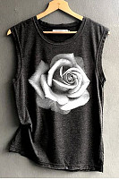 Womens Casual Round Neck Rose Printed Tanktop