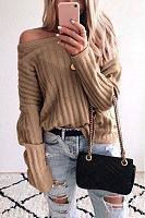 Open Shoulder Collar Plain Casual Sweater