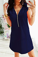 V Neck  Zipper  Plain  Sleeveless Casual Dresses