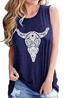 Round Neck Print Vest Sleeveless T-shirt