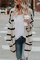 Casual striped loose pockets midi sweater cardigan