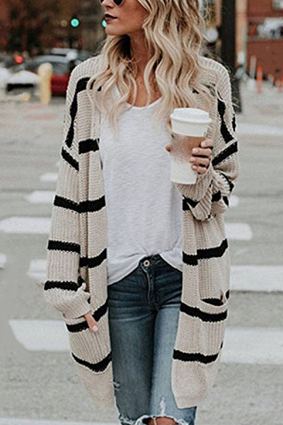 Casual striped loose pockets midi sweater cardigan