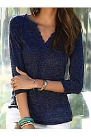 V Neck  Patchwork  Lace Plain Long Sleeve T-Shirts