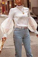 Fashion Pure Color Lace Bubble Sleeves Blouses