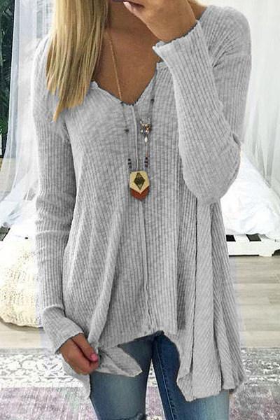 V-Neck Asymmetric Hem Sweaters
