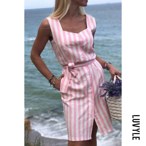Pink Spaghetti Strap Single Breasted Striped Sleeveless Bodycon Dresses Pink Spaghetti Strap Single Breasted Striped Sleeveless Bodycon Dresses