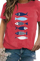 Round Neck Fish Print Short Sleeve T-shirt