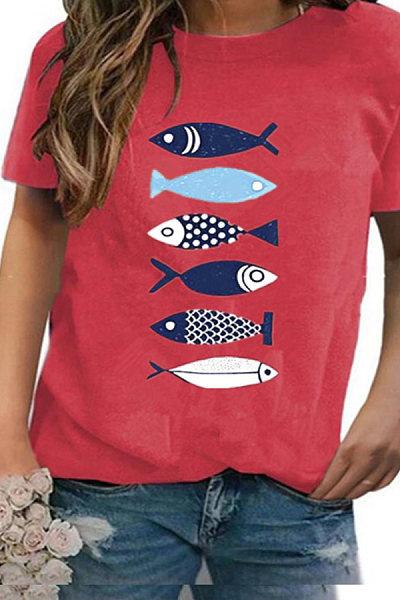 Round Neck Fish Print Short Sleeve T-shirt