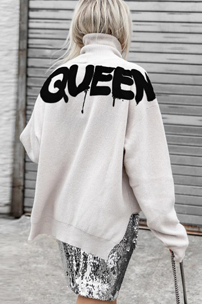 Fashion High Neck Letter Sweater