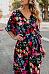V Neck  Floral Printed  Short Sleeve Maxi Dresses